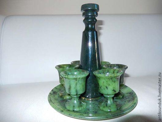 Бокалы, стаканы ручной работы. Ярмарка Мастеров - ручная работа. Купить РАРИТЕТ посуда из нефрита сервиз для напитков графин рюмки блюдо. Handmade.