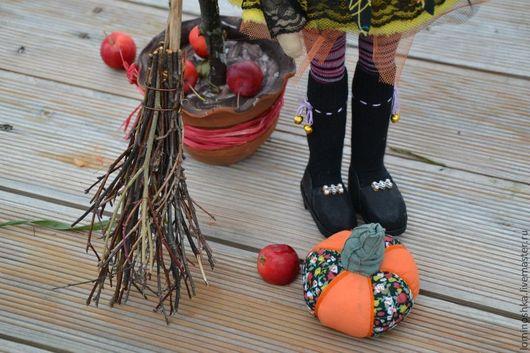 Куклы тыквоголовки ручной работы. Ярмарка Мастеров - ручная работа. Купить Марфуша прикинулась ведьмочкой. Handmade. Рыжий, сетка