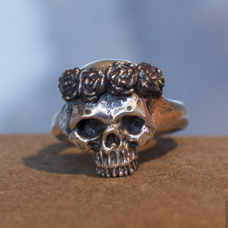 Rings handmade. Livemaster - handmade. Buy Skull with roses ring.Ring, memento mori