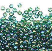 Бисер ручной работы. Ярмарка Мастеров - ручная работа Круглый 11/0 TOHO 179 Transparent-Rainbow Green Emerald японский бисер. Handmade.