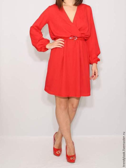 Платья ручной работы. Ярмарка Мастеров - ручная работа. Купить РАЗМЕР 50 Красное платье из шифона, короткое платье с длинным рукавом. Handmade.