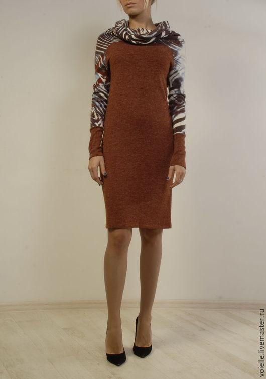 Платье трикотажное, платье женское, платье MustHave платье тёплое с ангорой, платье из шерсти, платье терракот, платье длиной до колен, платье свободного кроя, платье комфортное, платье удобное