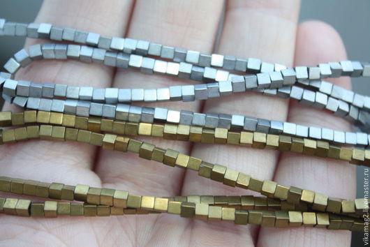 Для украшений ручной работы. Ярмарка Мастеров - ручная работа. Купить Гематит бусины кубики, 2.5 мм только в золоте. Handmade.