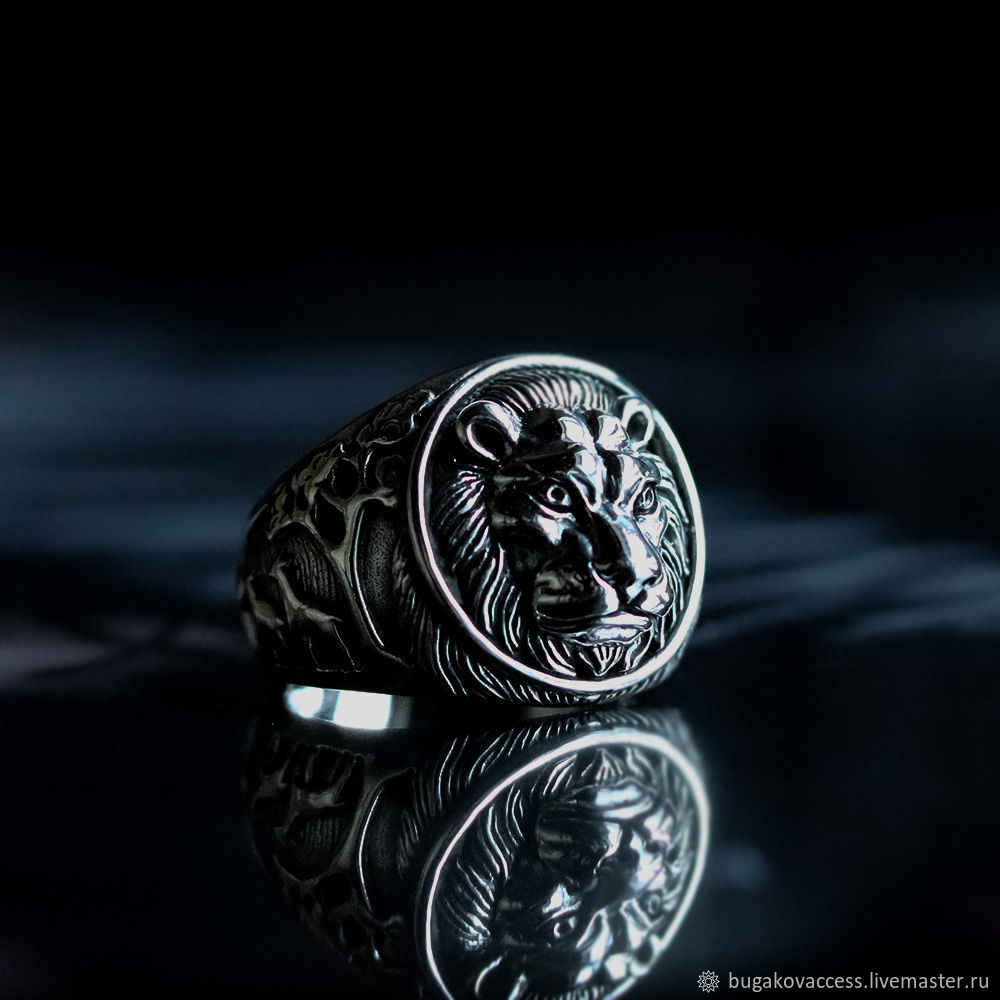 Ring Lion king of beasts and the Lionheart from silver 925, Rings, Moscow,  Фото №1