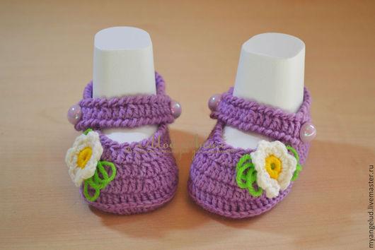 Для новорожденных, ручной работы. Ярмарка Мастеров - ручная работа. Купить пинетки-туфельки Фиалки. Handmade. Сиреневый, для девочки