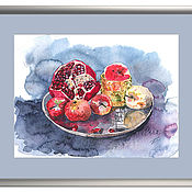 Pictures handmade. Livemaster - original item Watercolor painting still life Gray plate. Handmade.