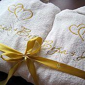 Халаты ручной работы. Ярмарка Мастеров - ручная работа Белые махровые халаты с вышивкой - парный подарок  на свадьбу. Handmade.