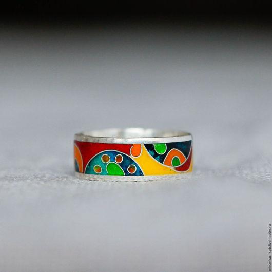 """Кольца ручной работы. Ярмарка Мастеров - ручная работа. Купить Кольцо """"Африка мини"""" из серебра с эмалью. Минанкари. Handmade."""