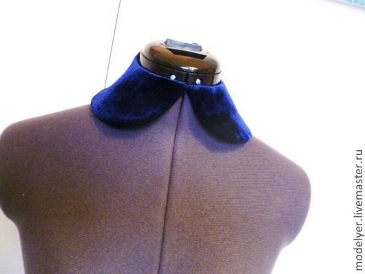 Комплекты украшений ручной работы. Ярмарка Мастеров - ручная работа. Купить Съемный воротничок универсальный синий бархат. Handmade. для фотосессий