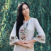 Одежда handmade. Livemaster - original item Elegant dress with hand-embroidered