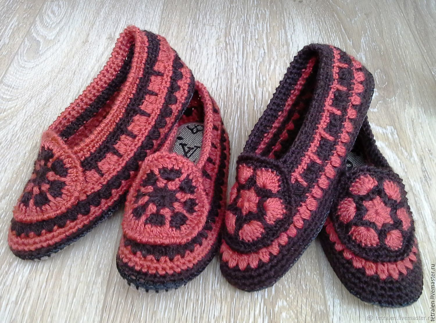 8b8430e8729f90 Online shopping Handmade Shoes handmade. Order Home Slippers crocheted  Redheads. Knitted stuff from Svetlana. Livemaster ...