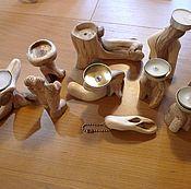 Для дома и интерьера ручной работы. Ярмарка Мастеров - ручная работа Подсвечники из душистого можжевельника. Handmade.