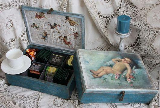 """Шкатулки ручной работы. Ярмарка Мастеров - ручная работа. Купить Короб для чая """"Спящий Ангел"""". Handmade. Короб для чая, ангелы"""