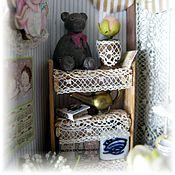 """Куклы и игрушки ручной работы. Ярмарка Мастеров - ручная работа Миниатюра в чайной коробочке """"Кто там?"""". Handmade."""