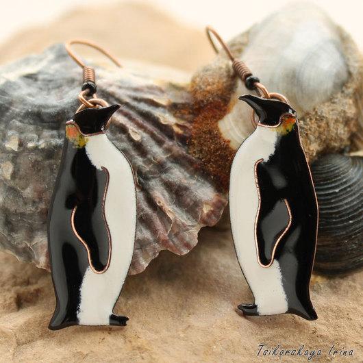 Серьги ручной работы. Ярмарка Мастеров - ручная работа. Купить Серьги Императорский пингвин — морской житель. Handmade. Белый
