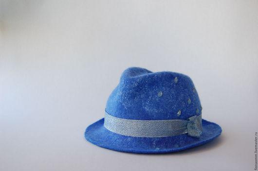 """Шляпы ручной работы. Ярмарка Мастеров - ручная работа. Купить Шляпа из шерсти """"Серебро дождя"""".. Handmade. Синий, дамская шляпка"""