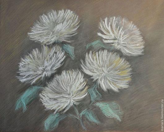 Картины цветов ручной работы. Ярмарка Мастеров - ручная работа. Купить Картина пастелью Белые хризантемы. Handmade. Серый