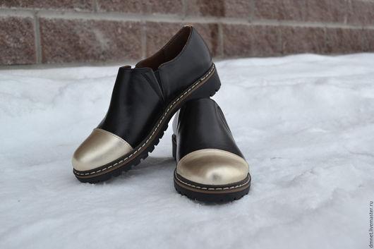 Обувь ручной работы. Ярмарка Мастеров - ручная работа. Купить Туфли женские с резинкой на треке. Handmade. Золотой, минимализм