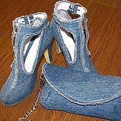 Обувь ручной работы. Ярмарка Мастеров - ручная работа Комплет  Джинсовый. Handmade.