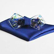 Галстуки ручной работы. Ярмарка Мастеров - ручная работа Эксклюзивная стеклянная галстук бабочка синяя Rainy Mood + платок паше. Handmade.