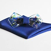 Ties handmade. Livemaster - original item Exclusive glass tie blue Rainy Mood shawl Pasha. Handmade.