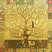 """Аксессуары ручной работы. Ярмарка Мастеров - ручная работа Платок """"Дерево жизни"""" по работе Г.Климта. Handmade."""