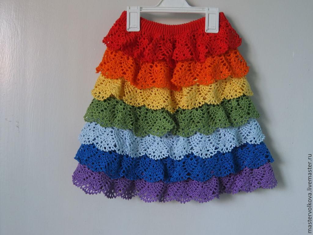 юбка вязаная радужные воланы купить в интернет магазине на ярмарке