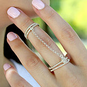 Украшения handmade. Livemaster - original item Double ring of 925 silver with zircons. Handmade.