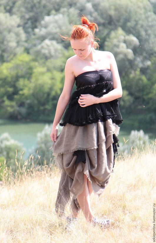 Платья ручной работы. Ярмарка Мастеров - ручная работа. Купить платье развивающееся на ветру. Handmade. Серый, без бретелей, шифон