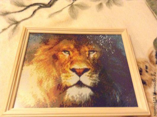 Животные ручной работы. Ярмарка Мастеров - ручная работа. Купить Картина ' Лев'(алмазная вышивка). Handmade. Лев, алмазная вышивка
