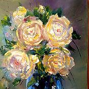 Картины и панно handmade. Livemaster - original item Oil painting with flowers. Yellow roses flowers. Handmade.