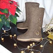 """Обувь ручной работы. Ярмарка Мастеров - ручная работа Сапоги валяные """"Рождественский шоколад"""". Handmade."""