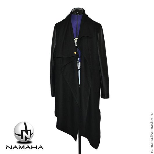 Верхняя одежда ручной работы. Ярмарка Мастеров - ручная работа. Купить Пальто с кожаными рукавами, асимметричное пальто,пальто черное кашемир. Handmade.