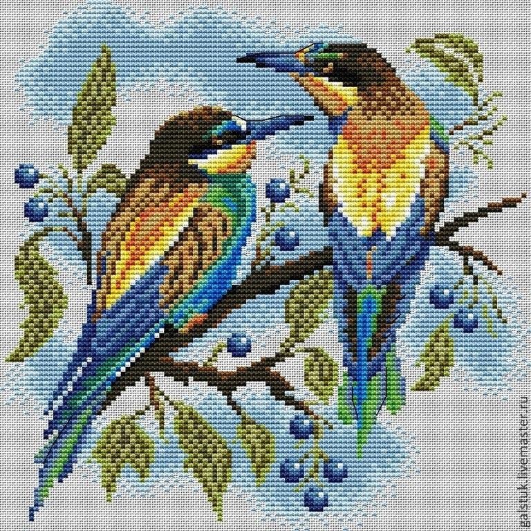 Схемы вышивки пара птиц