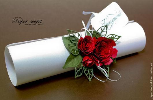 Пригласительные ручной работы. Ярмарка Мастеров - ручная работа. Купить Приглашение-свиток Красные розы Страсть Огонь Цветы. Handmade.