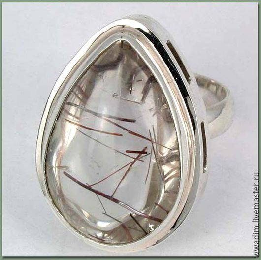 Кольца ручной работы. Ярмарка Мастеров - ручная работа. Купить Кольцо серебряное с кварцем волосатиком. Handmade. Белый, волосатик в серебре