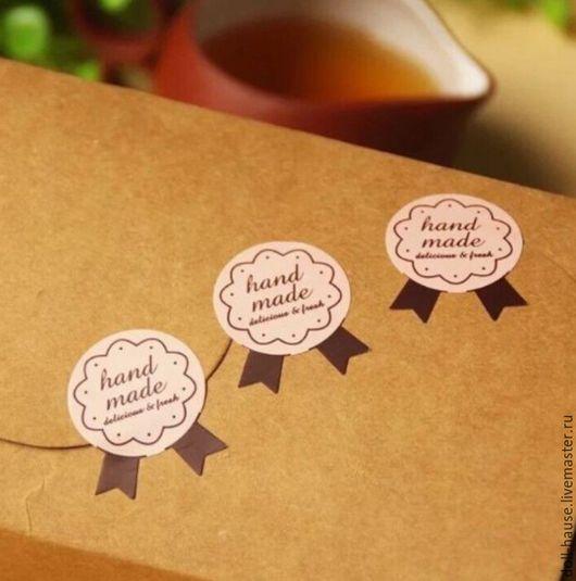 """Упаковка ручной работы. Ярмарка Мастеров - ручная работа. Купить Наклейка (стикер) 3,7х2,5 см, """"handmade"""". Handmade."""
