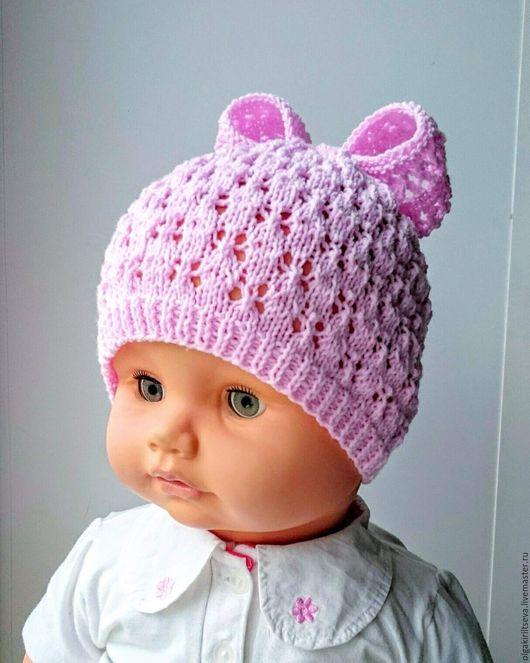 """Для новорожденных, ручной работы. Ярмарка Мастеров - ручная работа. Купить Шапочка вязаная для девочки """"Милашка"""". Handmade. Розовый, для новорожденного"""