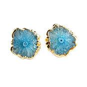 Украшения handmade. Livemaster - original item Blue Earrings with Quartz, Large Stud Earrings Quartz. Handmade.