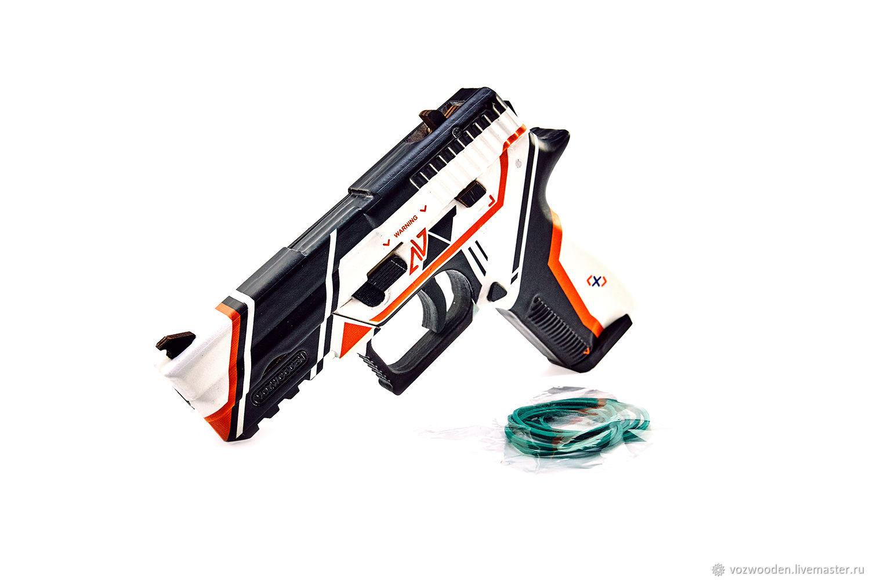 Пистолет VozWooden Р250 Азимов (деревянный резинкострел), Мягкие игрушки, Москва,  Фото №1
