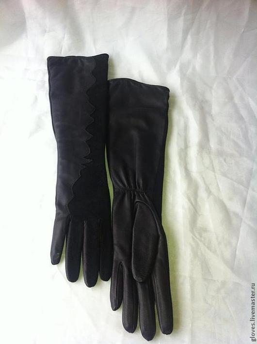 Варежки, митенки, перчатки ручной работы. Ярмарка Мастеров - ручная работа. Купить Перчатки удлиненные кожаные с подкладкой. Handmade. Черный