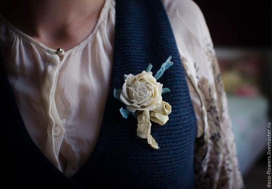 Броши ручной работы. Ярмарка Мастеров - ручная работа. Купить Винтажная брошь с розой. Handmade. Бирюзовый, роза брошь, брошь