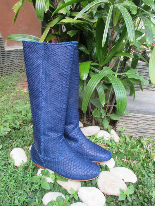 Обувь ручной работы. Ярмарка Мастеров - ручная работа. Купить сапоги Kreki3. Handmade. Тёмно-синий, сапоги из кожи питона