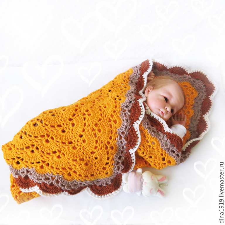 a blanket in the stroller to buy, the knitted blanket, the blanket statement blanket for newborns, Dina Belyaeva, Fair masters
