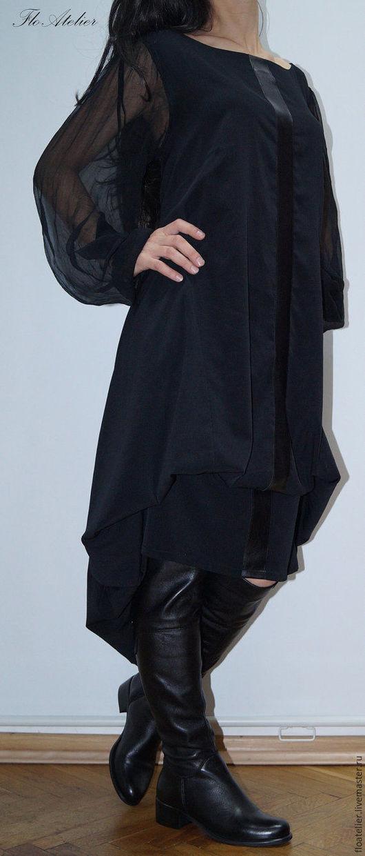 Платья ручной работы. Ярмарка Мастеров - ручная работа. Купить Черный кафтан/Aссиметричная туника/F1121. Handmade. Черный, верхняя одежда