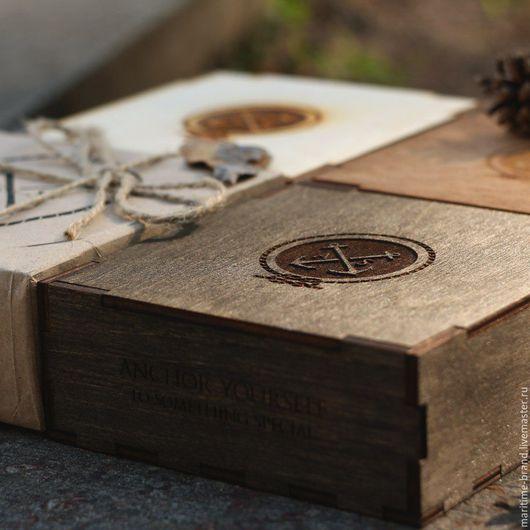 Подарочная упаковка ручной работы. Ярмарка Мастеров - ручная работа. Купить Деревянная подарочная коробочка в крафт упаковке + ваша надпись. Handmade.