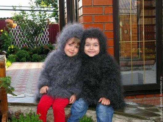 Одежда унисекс ручной работы. Ярмарка Мастеров - ручная работа. Купить Детское пуховое пальто. Handmade. Темно-серый