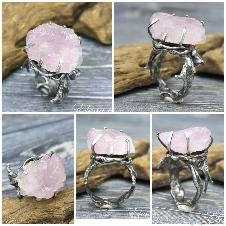 """Серебряное кольцо с необработанным розовым кварцем """"Потоки"""", Rings, Novosibirsk,  Фото №1"""