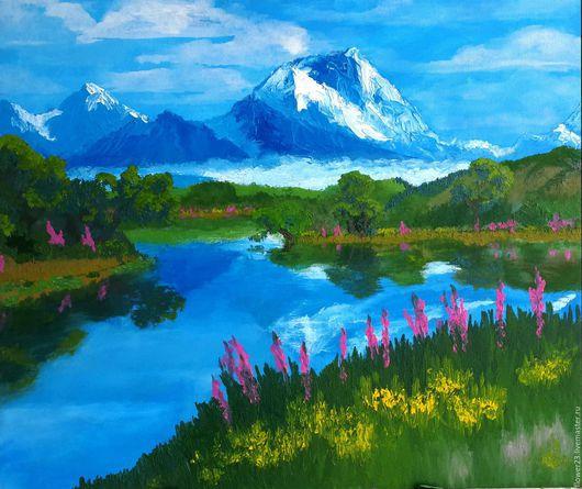 """Пейзаж ручной работы. Ярмарка Мастеров - ручная работа. Купить картина """"Тишина"""". Handmade. Горный пейзаж, озеро, лес"""