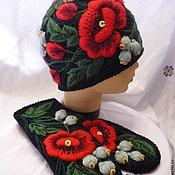 Аксессуары handmade. Livemaster - original item Set with embroidery, hat mittens